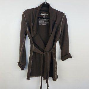 Lucky Brand M Soft Cotton Wrap Jacket Blazer Brown